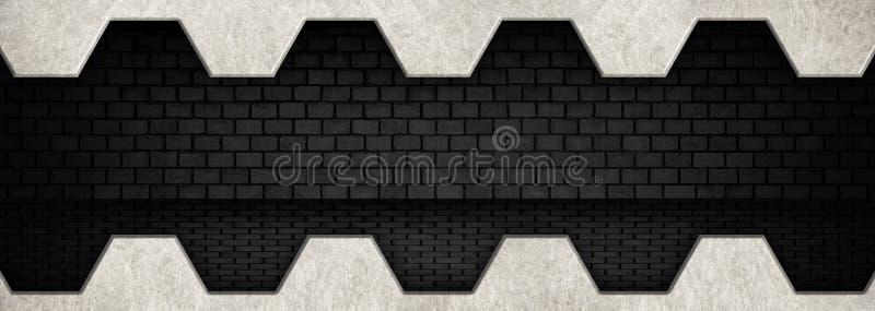 Внутренний ангар металла с черной кирпичной стеной иллюстрация штока