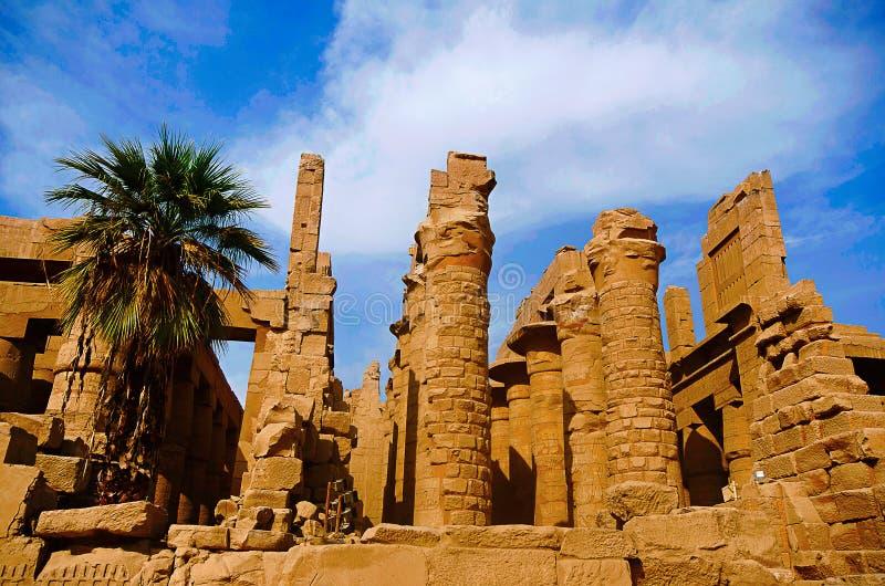 Внутренний взгляд виска и высекаенных штендеров большой hypostyle залы в пределе Re Amon, расположенном на comple виска Karnak стоковое фото rf