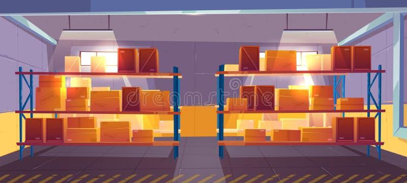 Внутренний взгляд интерьера склада, снабжения, запаса бесплатная иллюстрация