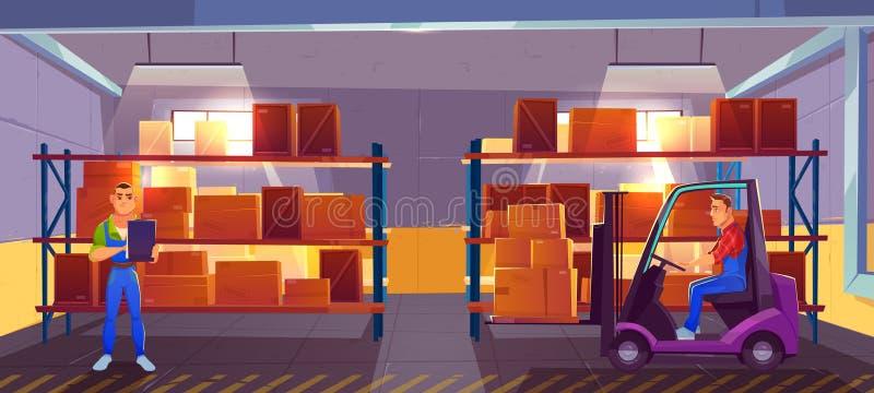 Внутренний взгляд интерьера склада, снабжения, запаса иллюстрация вектора