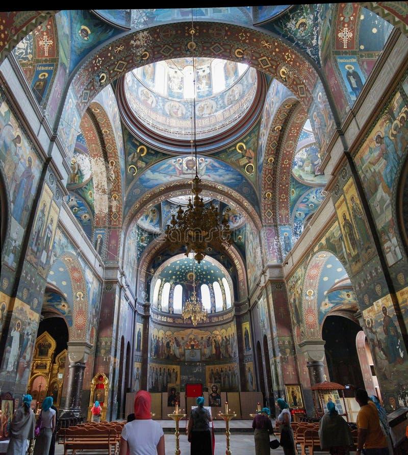 Внутренний взгляд к новому монастырю абхазии Athos aka Novy Afon, Грузии стоковая фотография