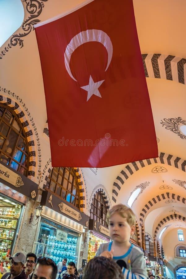 Внутренний взгляд специи или египетского базара в Стамбуле стоковая фотография