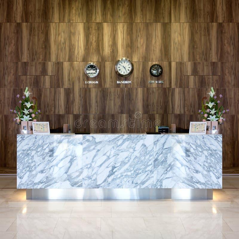 Внутренний взгляд роскошной гостиницы приема стоковые фотографии rf