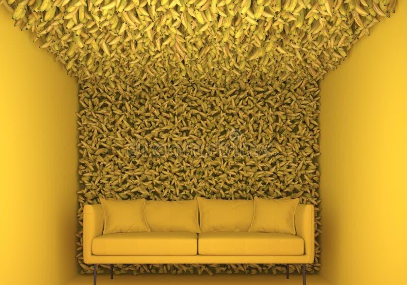 Внутренний в monochrome желтом цвете Установка выставки с много бананами и софой Творческий декоративный состав M иллюстрация штока