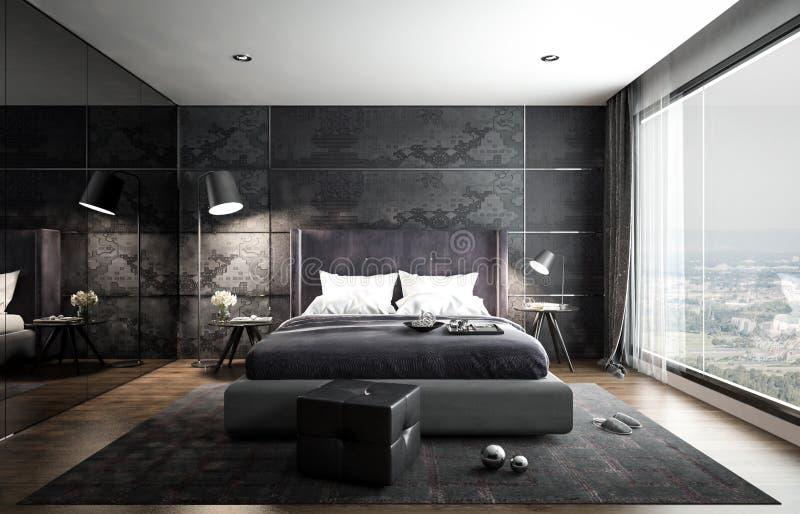 Внутренний модель-макет спальни, черный современный стиль, 3D перевод, 3D i стоковая фотография rf