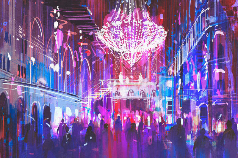 Внутренний ночной клуб с яркими светами стоковая фотография