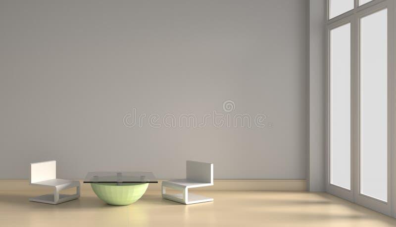 внутренний перевод мебели 3D с солнечным светом иллюстрация вектора