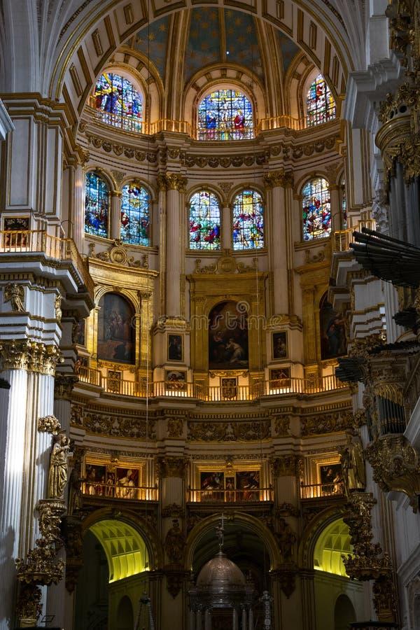 Внутренний собор Catedral de Гранада Гранады, Санта Iglesia Catedral Metropolitana de Ла Encarnacion de Гранада стоковые изображения