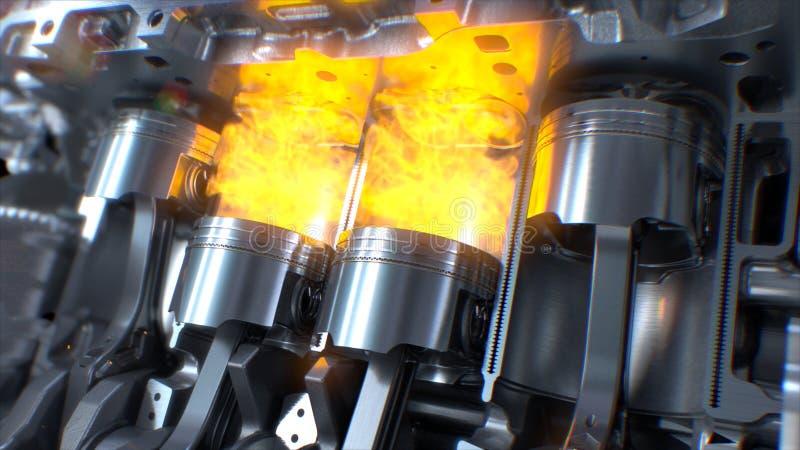 Внутренность двигателя автомобиля, поршени двигателя, стоковая фотография rf