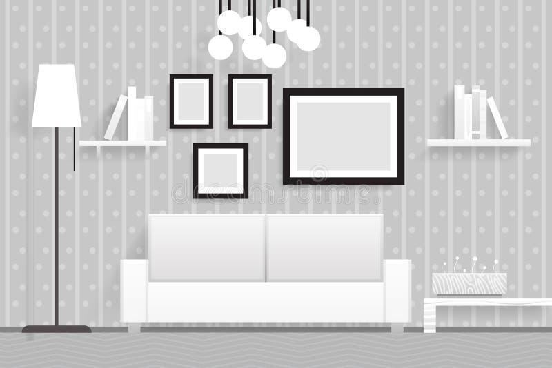 Внутренняя живущая иллюстрация вектора дизайна мебели 3d комнаты реалистическая иллюстрация штока