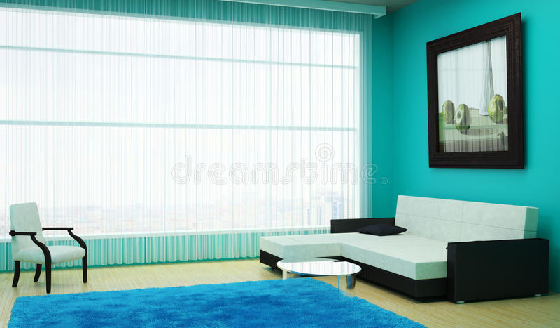 Внутренняя живущая комната при большое окно обозревая город и большую картину на стене иллюстрация штока