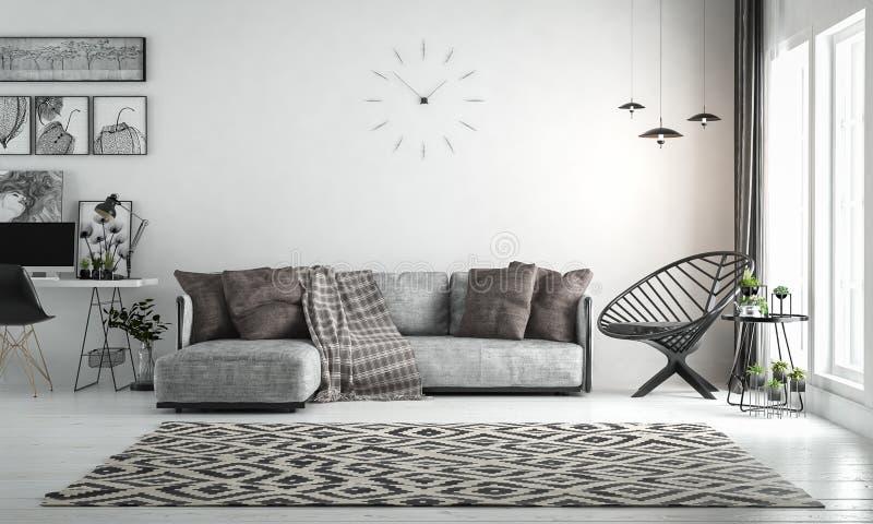 Внутренняя живущая комната, скандинавский стиль, с свободными софой & furn стоковые фотографии rf