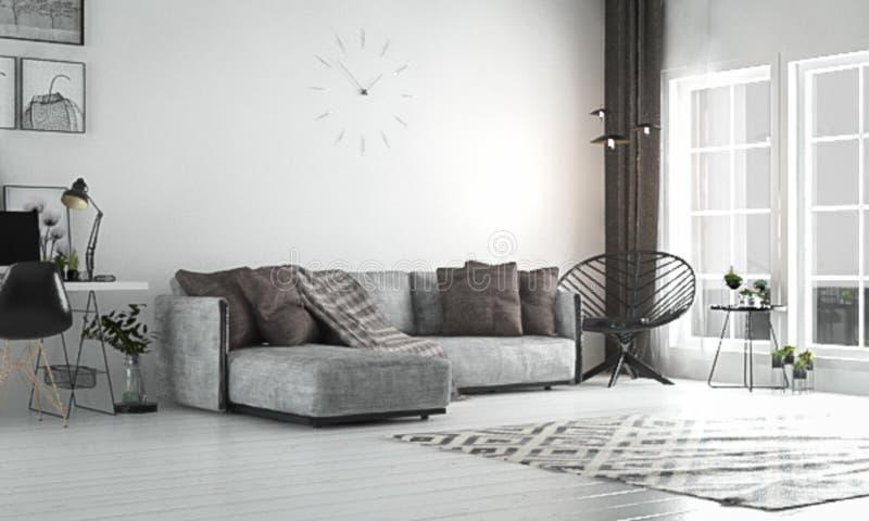 Внутренняя живущая комната, скандинавский стиль, с свободными софой & furn стоковые фото