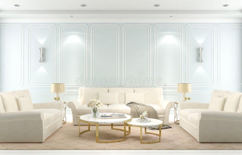Внутренняя живущая комната, современный классический стиль, голубая стена, 3D представляет стоковые фотографии rf