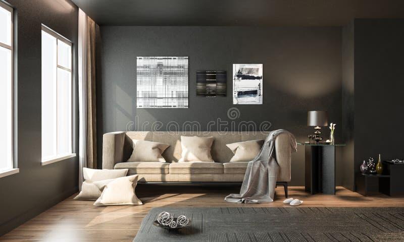 Внутренняя живущая комната, черный современный стиль, с коричневой свободной софой, иллюстрация вектора