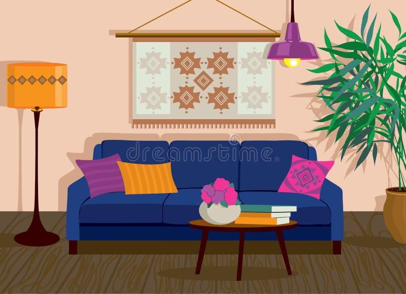 Внутренняя живущая комната иллюстрация вектора