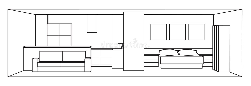 Внутренняя иллюстрация вектора 3d Космос кухни и спальни иллюстрация вектора