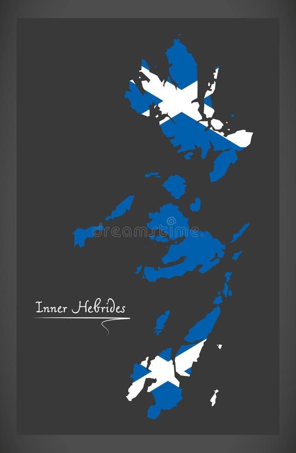 Внутренняя карта Hebrides с шотландской иллюстрацией национального флага иллюстрация штока