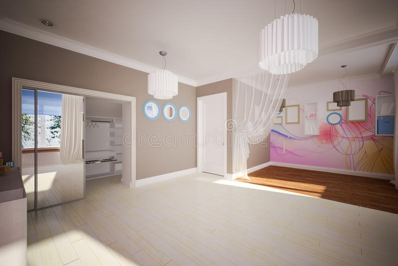 Внутренняя комната пустая в современном стиле стоковые изображения