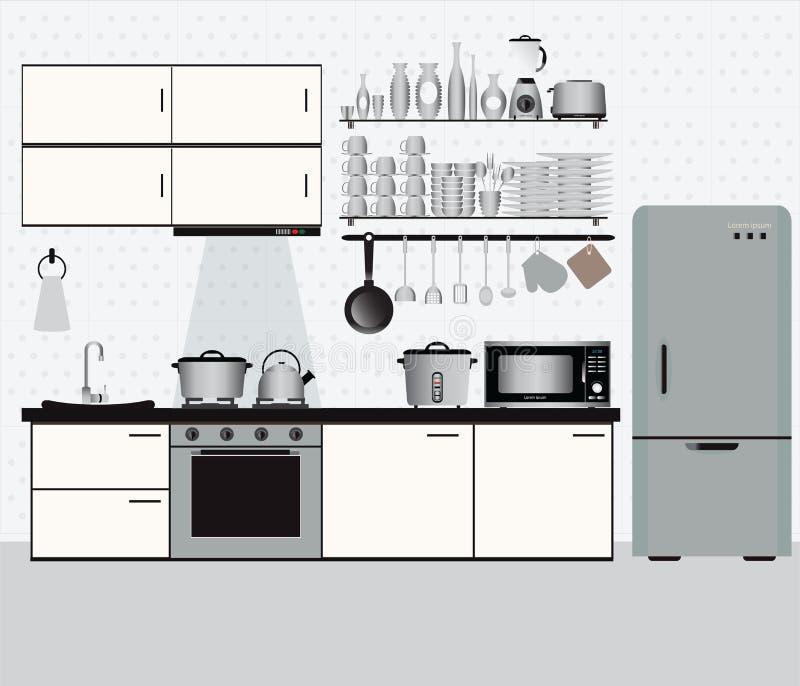 Внутренняя кухня с полками кухни и варя утварями иллюстрация вектора