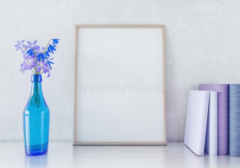 Внутренняя насмешка плаката вверх с вертикальными деревянной рамкой и цветками в вазе на белой предпосылке 3D стены представить иллюстрация вектора