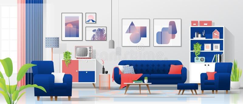 Внутренняя предпосылка с красочной живущей комнатой бесплатная иллюстрация