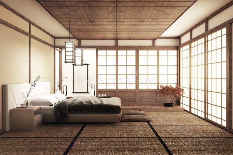 Внутренняя роскошная современная насмешка спальни японского стиля вверх, конструирующ самое красивое r бесплатная иллюстрация