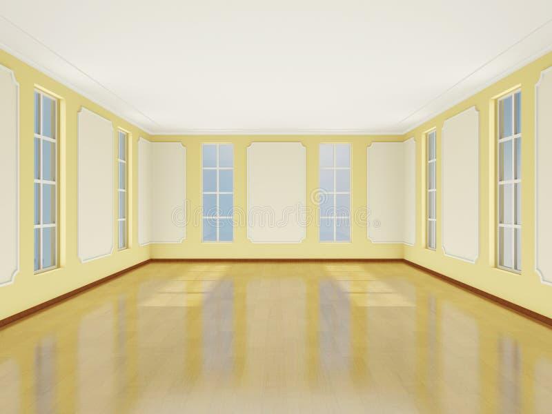 Внутренняя светлая комната в классическом стиле с большими окнами. 3D. иллюстрация штока