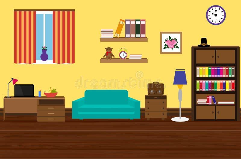 Внутренняя современная и стильная комната с софой, шкаф, стол иллюстрация вектора