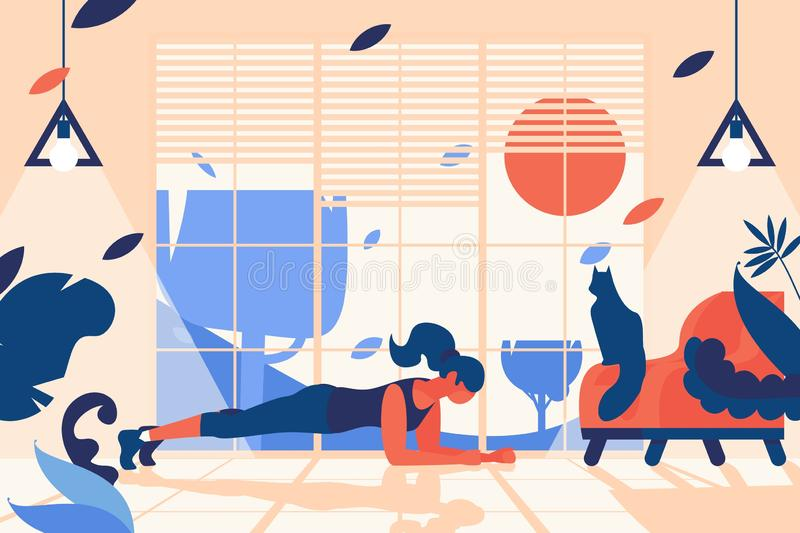 Внутренняя сцена с женщиной делая положение планки Домашний спортзал перед окном, со стильным стулом и сидя котом Плоско внутри п иллюстрация штока