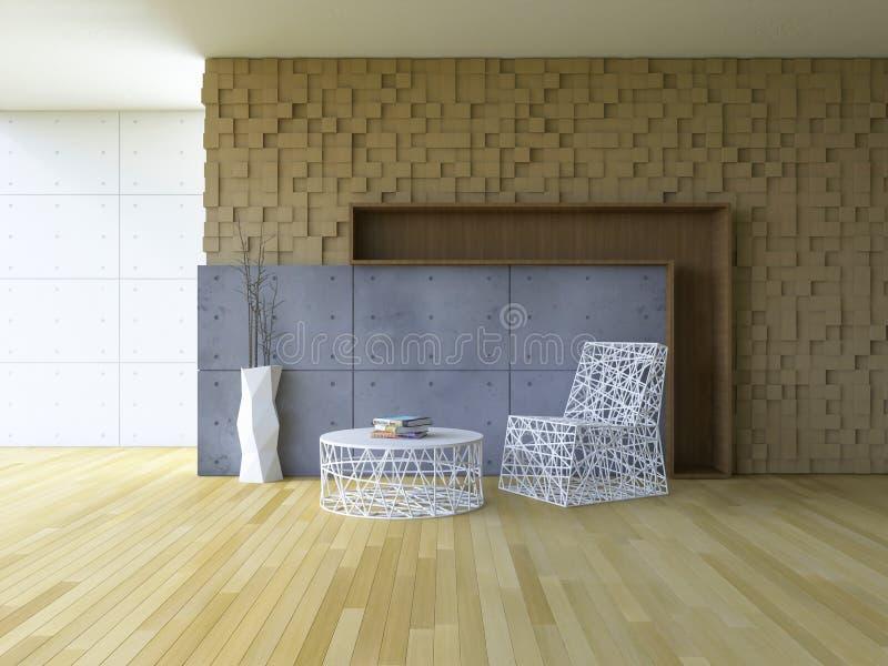 внутренн-живя комната 3Ds иллюстрация вектора
