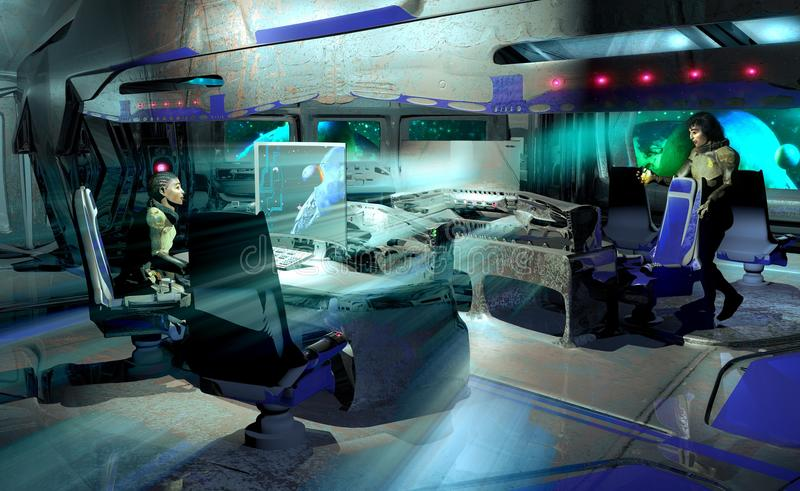 Внутри космического корабля иллюстрация вектора