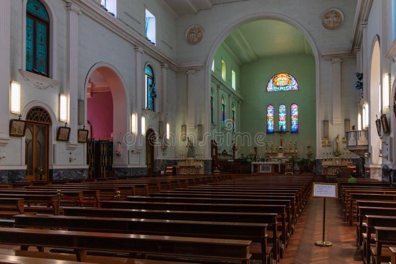 Внутри панорамы собора de Макао Sé христианина Sé, Макао, Китай, Азия стоковые фотографии rf
