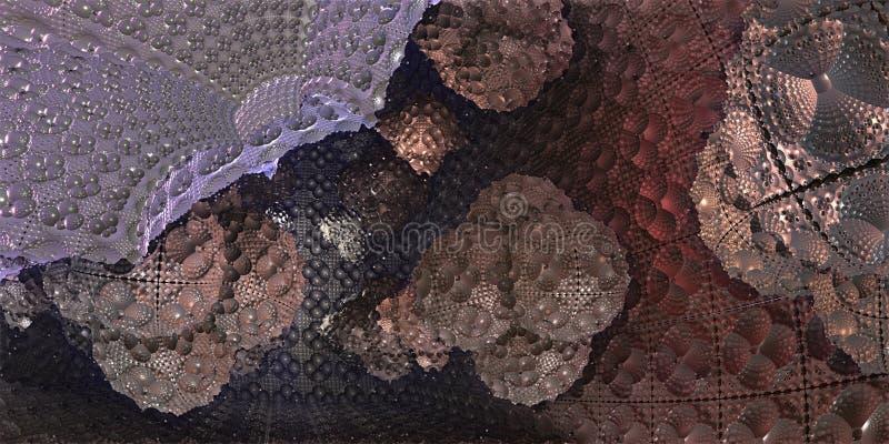 Внутри футуристического куба научной фантастики с органическими шариками, illustr 3D иллюстрация штока