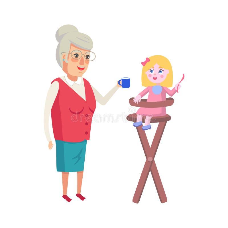 Внучка бабушки подавая в высоком стульчике бесплатная иллюстрация