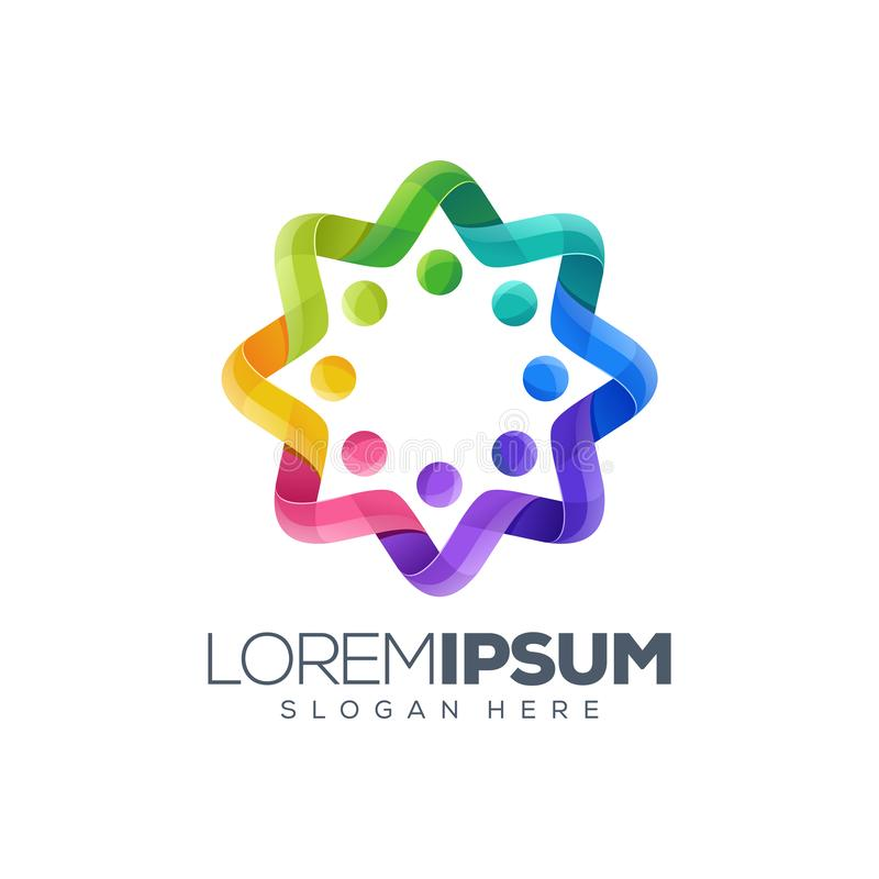Внушительный красочный дизайн логотипа круга иллюстрация вектора