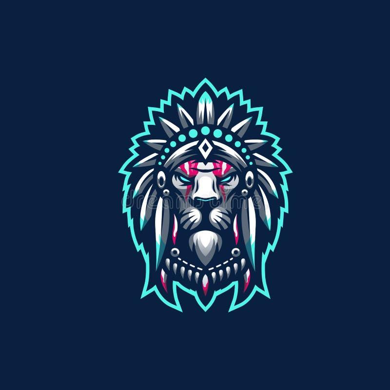 Внушительный логотип льва готовый для использования иллюстрация штока