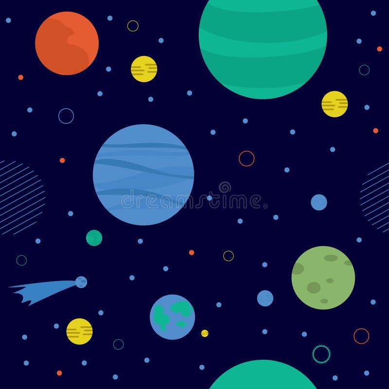 Внушительная космическая безшовная картина с землей, луной, звездами и кометами иллюстрация вектора