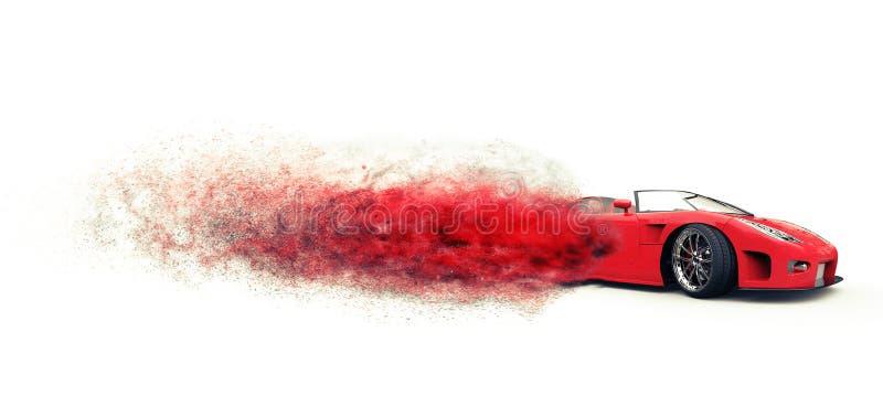 Внушительный красный sportscar дезинтегрировать стоковое фото rf