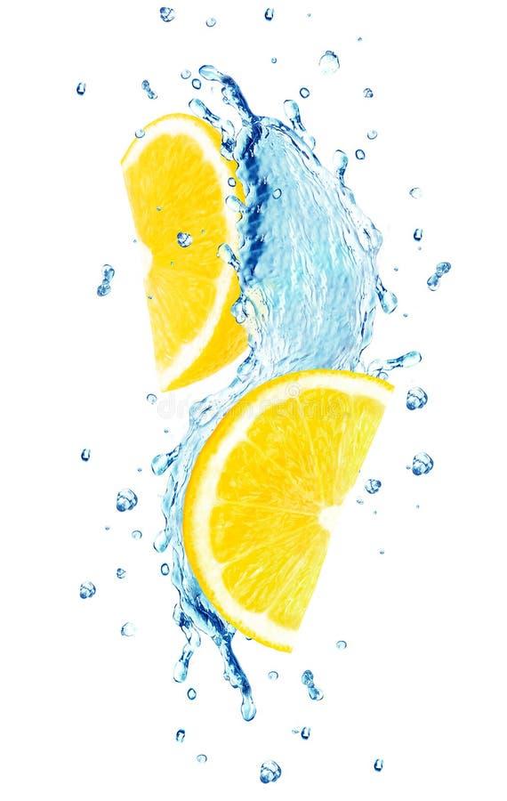 Вода выплеска лимона стоковое фото