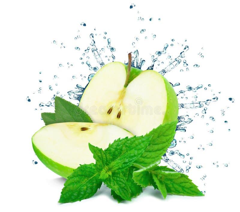 вода выплеска яблока стоковое фото rf