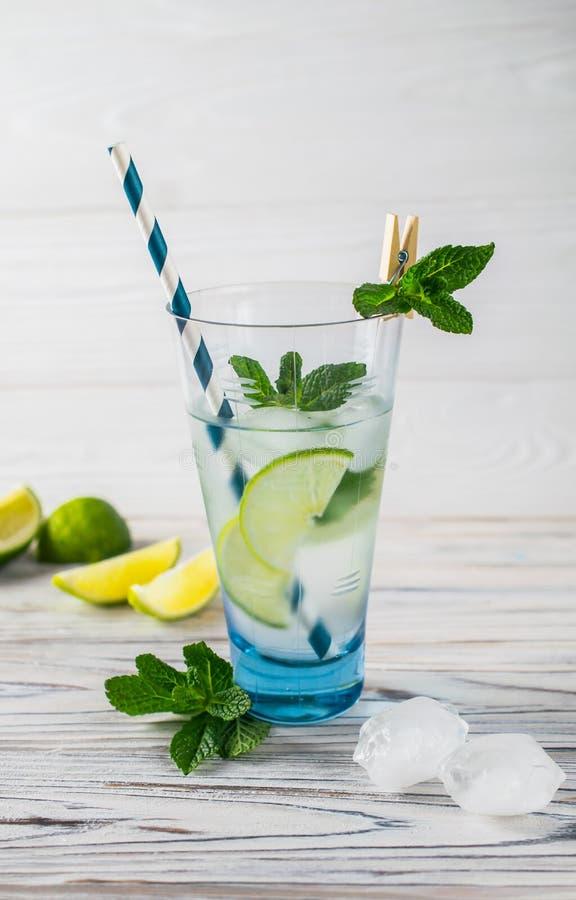 Вода вытрезвителя лета здоровая органическая освежая с лимоном, известкой и мятой стоковые изображения rf