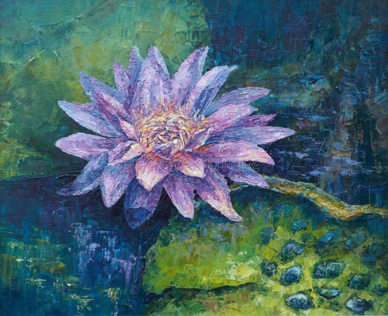 вода лилии сирени иллюстрация вектора