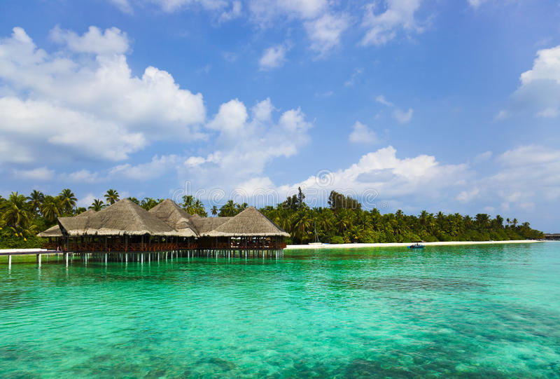 вода Мальдивов кафа пляжа тропическая стоковые изображения