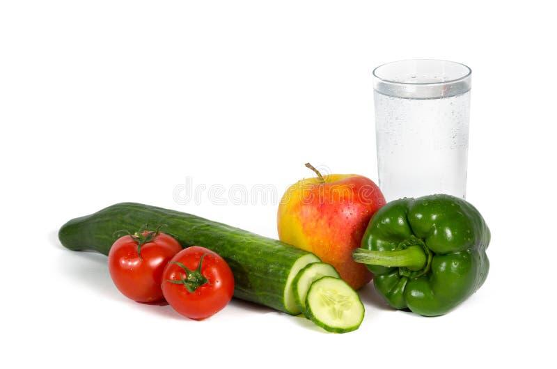 вода овощей свежих фруктов стеклянная стоковая фотография rf