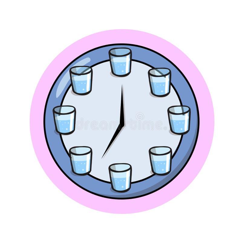 Вода питья регулярно Плоская иллюстрация вектора белизна изолированная предпосылкой иллюстрация штока