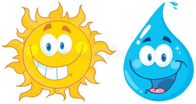 вода солнца персонажей из мультфильма иллюстрация штока