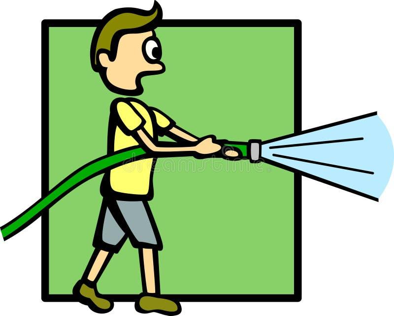 вода шланга мальчика бесплатная иллюстрация