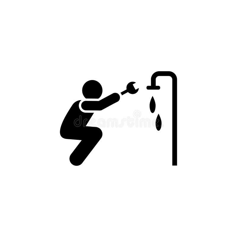 Вода, cogwheel, ключ, значок человека r r r иллюстрация вектора