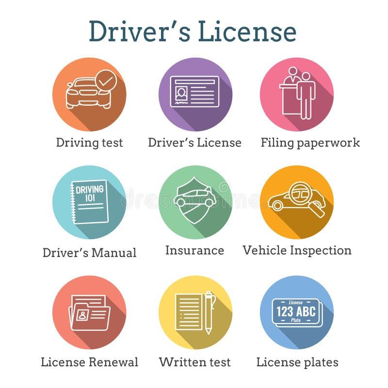 Водители испытывают и лицензируют набор значка и - знамя заголовка сети иллюстрация вектора